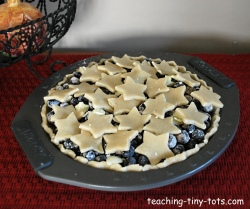 making a blueberry pie