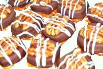 chocolate turtle with pretzel