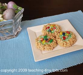 Easter Rice Krispies Nest with Eggs