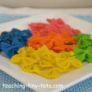 Toddler Math Colored Pasta Hands On Counting Sorting