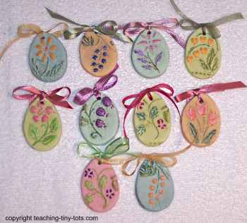 egg shaped Easter salt dough ornaments