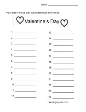 free printable Valentines words