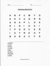 free printable Valentines word search