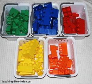 sorting mega bloks by color