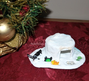 plaster of paris igloo with penguin