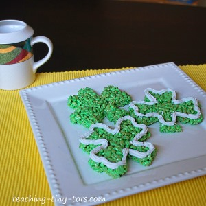 St. Patrick's Day Rice Krispies Shamrocks