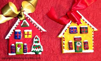 how to decorate salt dough christmas cottages