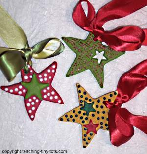 how to decorate salt dough christmas stars