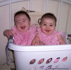 twins in laundry basket