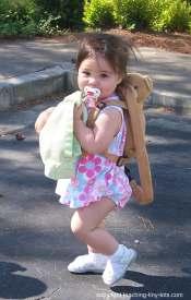 toddler wearing leash