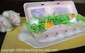 easter pom pom chicks hatching
