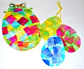 easter egg card and tags with tissue