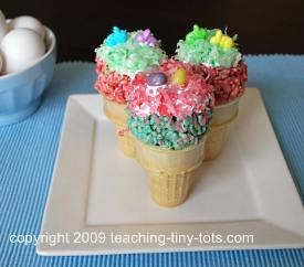easter rice krispies bunny cone