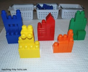 build mega bloks into buildings by color