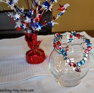 patriotic star pony bead necklace