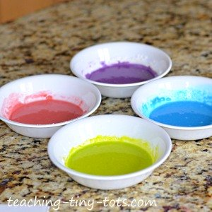 puffy paint in bowls