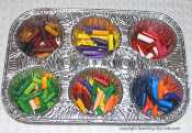 crayons in muffin tin
