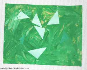 shape collage with tempera