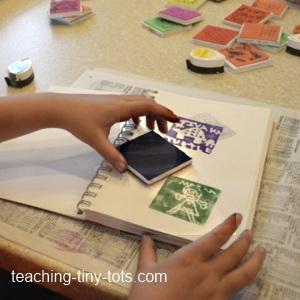 stamping in sketchbook