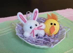 styrofoam bunny and chick