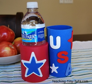 Can hug or coozie for Fourth of July parties.