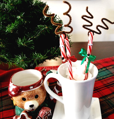 Make cute candy cane reindeer
