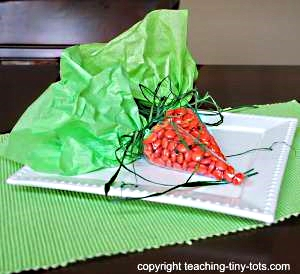 Carrot Shaped Candy filled treat bag.