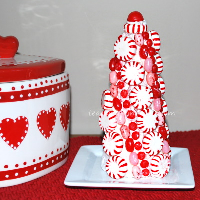 Candy peppermint topiary.
