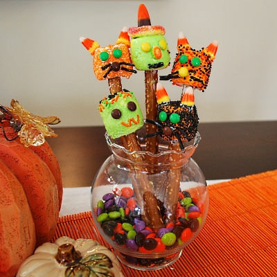 Cute Halloween Cat, With and Frankenstein Pretzels