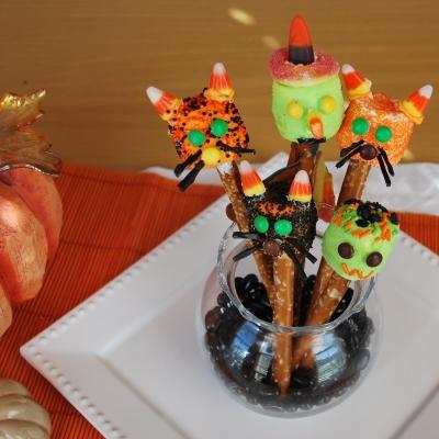 Halloween cat, witch and Frankenstein pretzels
