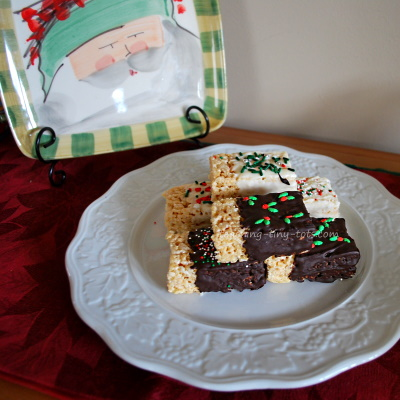 Chocolate Dipped Rice Krispies and Sprinkles