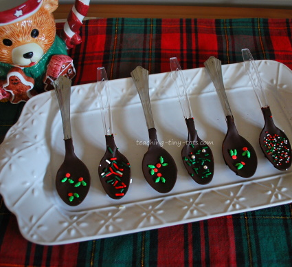 Chocolate dipped spoons for Cocoa.