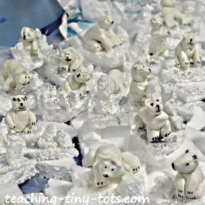 Free form clay polar bears