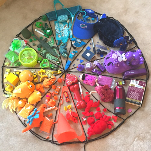 Make a color wheel using objects.