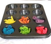 sorting colored pasta