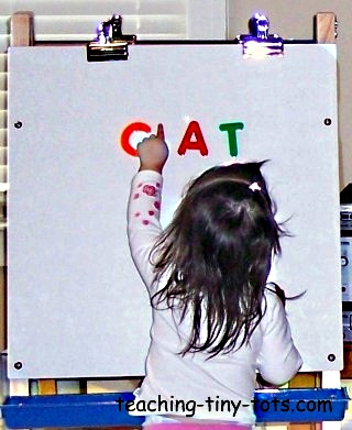 Magnetic easels are a great way to use magnetic letters and animals.