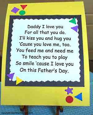 Toddler Activities: Childrens Poems for Father's Day