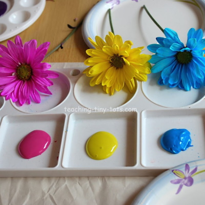 Printing Flowers with Paint