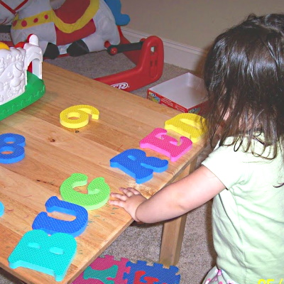 Large foam letters and numbers are a great toy to help introduce the alphabet and simple words.