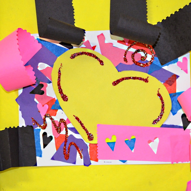 mixed media heart collages