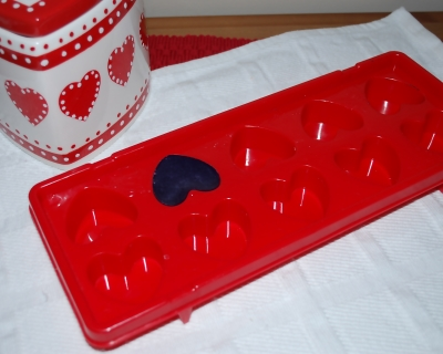 Soap made using cute heart ice trays.