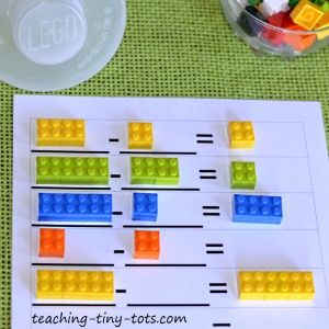 Free Printable Subtraction with Legos