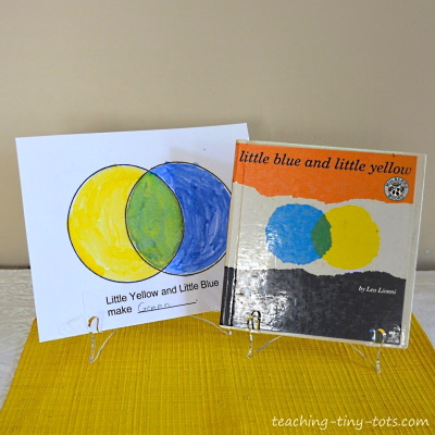 Using water color for an activity with Little Blue and Little Yellow.