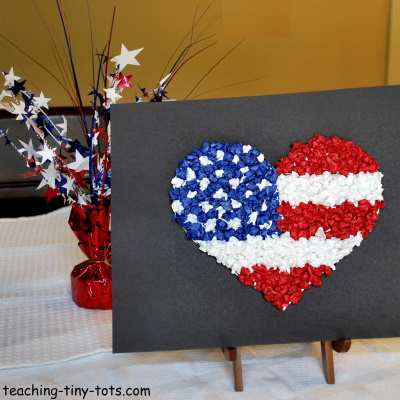 Patriotic Craft for Kids making a Heart Flag