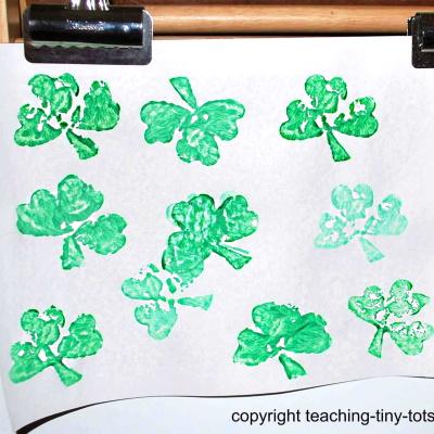 Potato Printing Shamrocks.