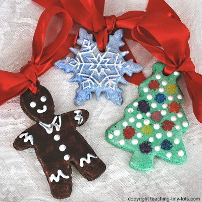 Salt Dough Ornaments Using Cookie Cutters for Christmas.