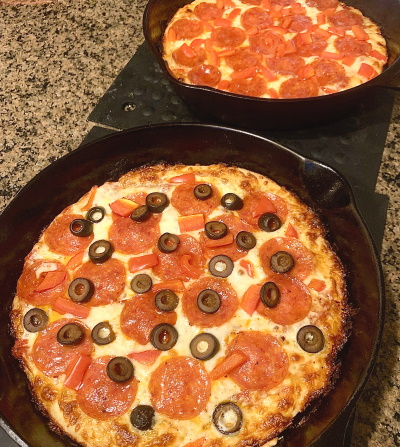 How to make deep dish skillet pizza.