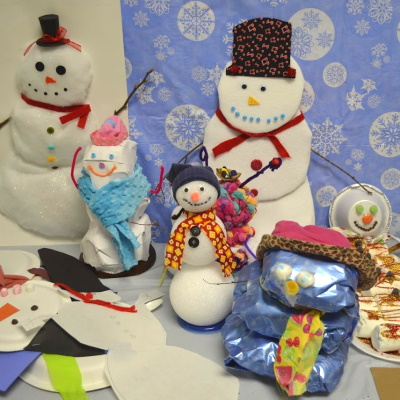 Create a snowman with materials of your choice for a classroom of snowmen.