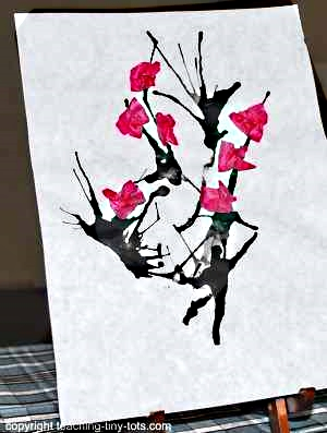 Peach Blossom Art with Black Ink and Tissue