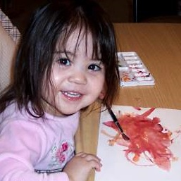toddler painting with water colors